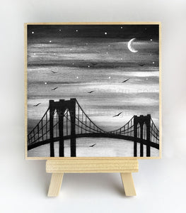 New York City bridge - black and white - silhouette - original miniature art print on 4 x 4 wood-Print-Easel Wood-PocketArtDesigns-Original Art-wall rt