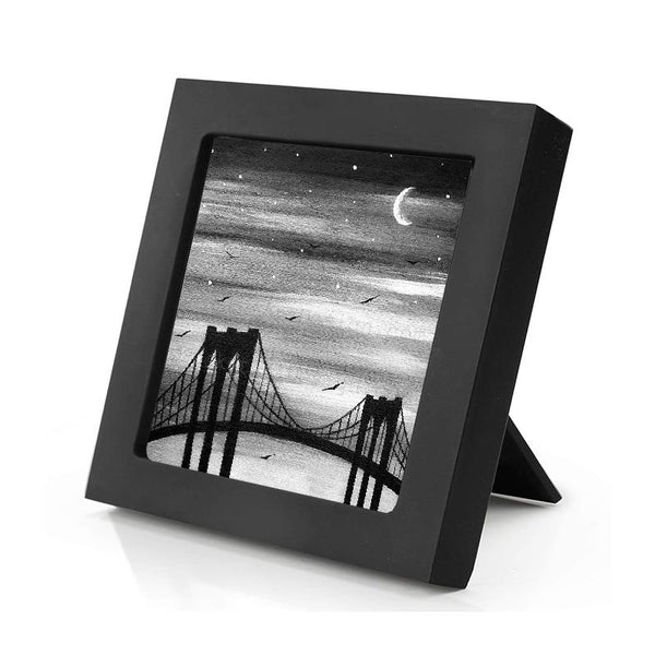 New York City bridge - black and white - silhouette - original miniature art print on 4 x 4 wood-Print-Mini Frame (+$5.00)-PocketArtDesigns-Original Art-wall rt