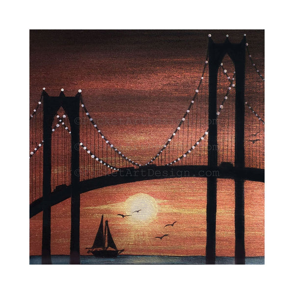 New York City bridge - night - silhouette - original miniature art print on 4 x 4 wood-Print-Easel Wood-PocketArtDesigns-Original Art-wall rt