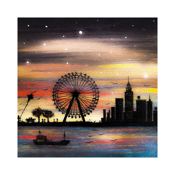 New York City fairground - night - silhouette - original miniature art print on 4 x 4 wood-Print-Easel Wood-PocketArtDesigns-Original Art-wall rt