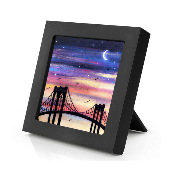 New York City bridge - night - silhouette - original miniature art print on 4 x 4 wood-Print-Mini Frame (+$5.00)-PocketArtDesigns-Original Art-wall rt