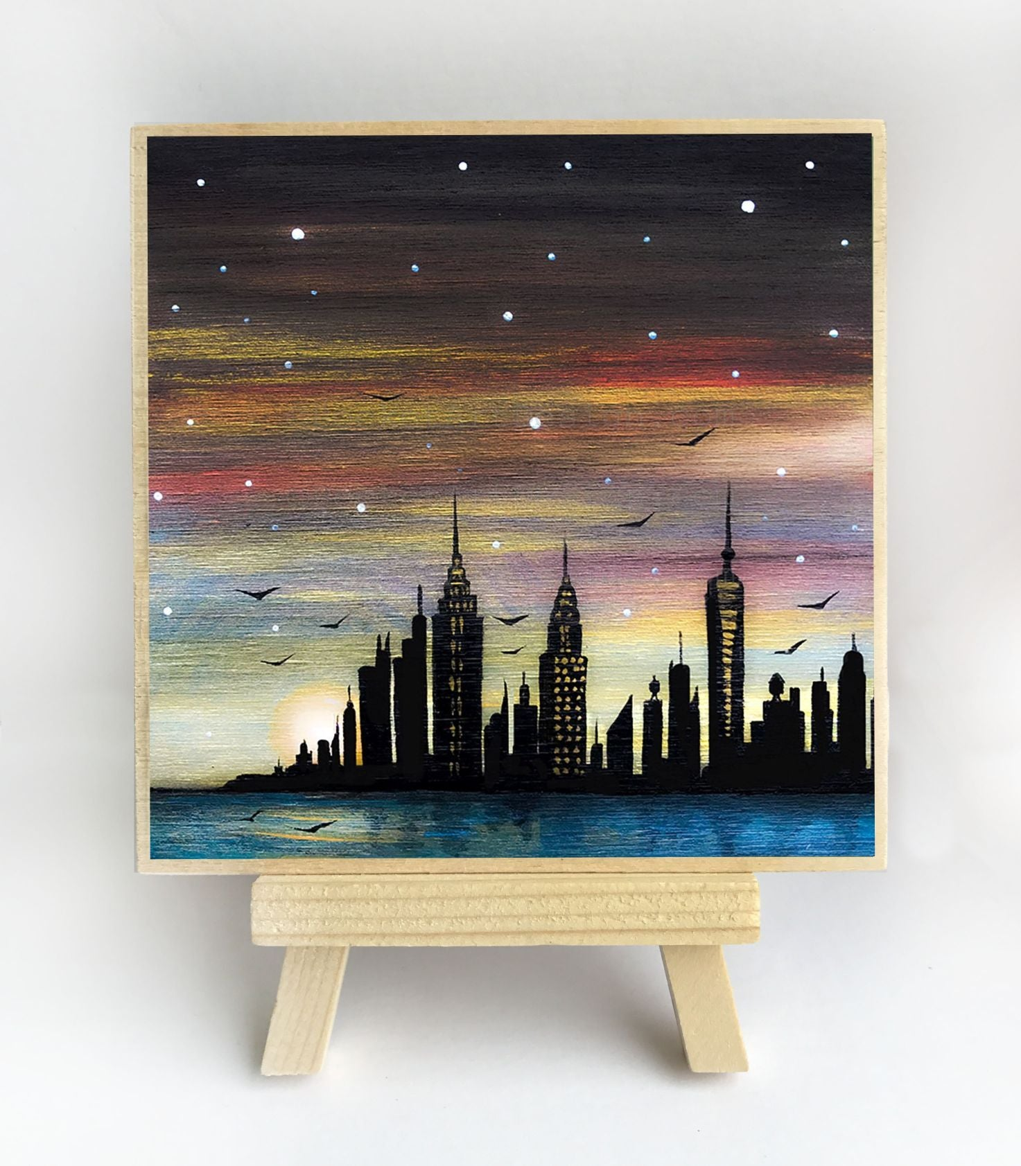 New York City night - silhouette - original miniature art print on 4 x 4 wood-Print-Easel Wood-PocketArtDesigns-Original Art-wall rt