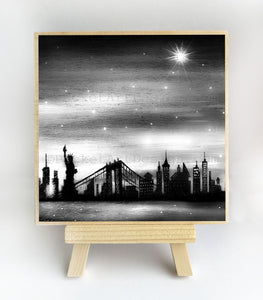 New York City - black and white - night - slhouette - original miniature art print on 4 x 4 wood-Print-Easel Wood-PocketArtDesigns-Original Art-wall rt