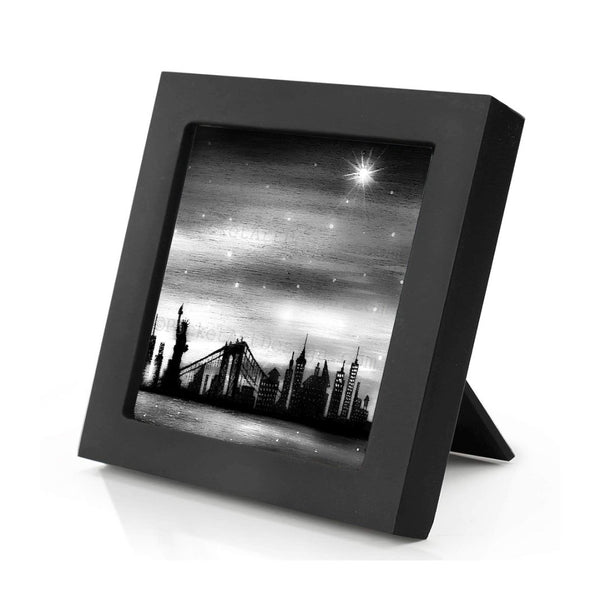 New York City - black and white - night - slhouette - original miniature art print on 4 x 4 wood-Print-Mini Frame (+$5.00)-PocketArtDesigns-Original Art-wall rt