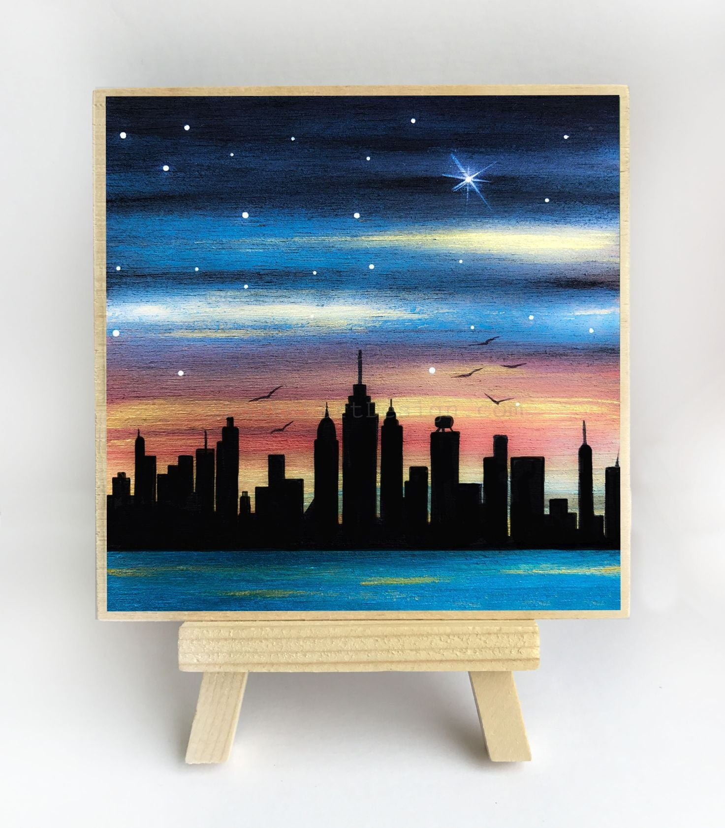 New York City - night - silhouette - original miniature art print on 4 x 4 wood-Print-Easel Wood-PocketArtDesigns-Original Art-wall rt