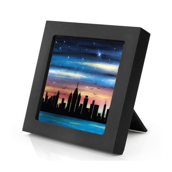 New York City - night - silhouette - original miniature art print on 4 x 4 wood-Print-Mini Frame (+$5.00)-PocketArtDesigns-Original Art-wall rt