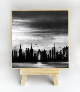 New York City - black and white - night - silhouette - original miniature art print on 4 x 4 wood-Print-Easel Wood-PocketArtDesigns-Original Art-wall rt