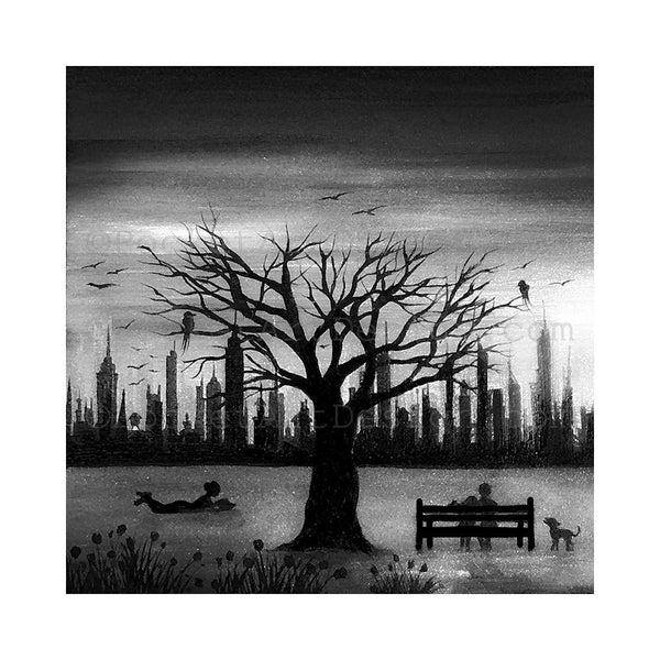 New York City - night - black and white - silhouette - original miniature art print on 4 x 4 wood-Print-Easel Wood-PocketArtDesigns-Original Art-wall rt