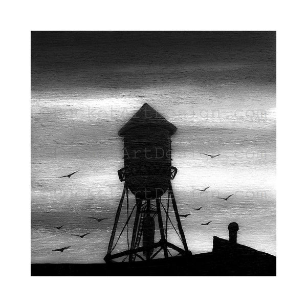 Water tower- night - black and white - silhouette - original miniature art print on 4 x 4 wood-Print-Easel Wood-PocketArtDesigns-Original Art-wall rt