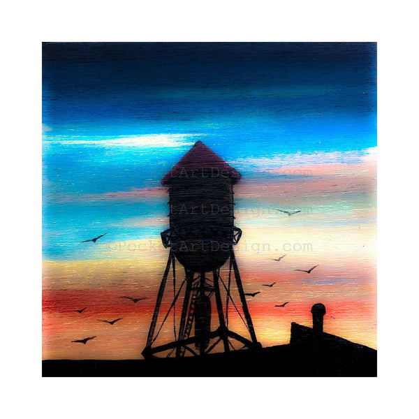 Water tower - night - silhouette - original miniature art print on 4 x 4 wood-Print-Easel Wood-PocketArtDesigns-Original Art-wall rt