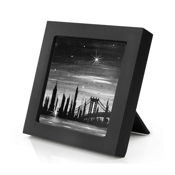 New York City - night - black and white - silhouette - original miniature art print on 4 x 4 wood-Print-Mini Frame (+$5.00)-PocketArtDesigns-Original Art-wall rt