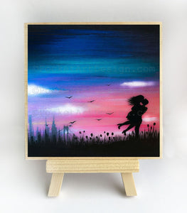 New York City - romantic- silhouette - original miniature art print on 4 x 4 wood-Print-Easel Wood-PocketArtDesigns-Original Art-wall rt
