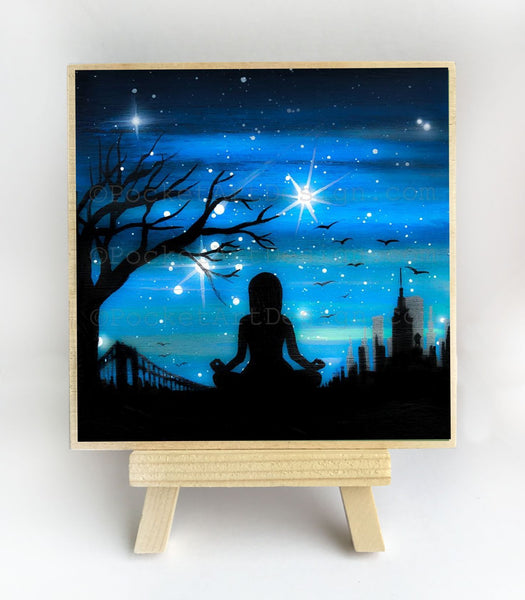 New York City - meditation - silhouette - original miniature art print on 4 x 4 wood-Print-Easel Wood-PocketArtDesigns-Original Art-wall rt