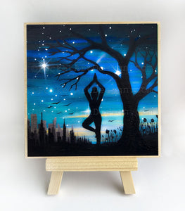New York City - Yoga at night - silhouette - original miniature art print on 4 x 4 wood-Print-Easel Wood-PocketArtDesigns-Original Art-wall rt