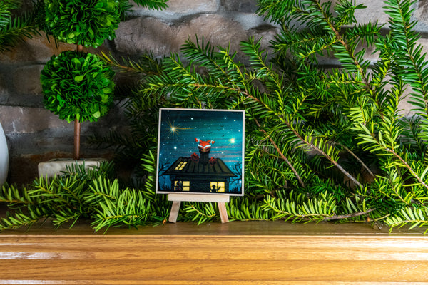 Christmas time - night - silhouette - original miniature art print on 4 x 4 wood