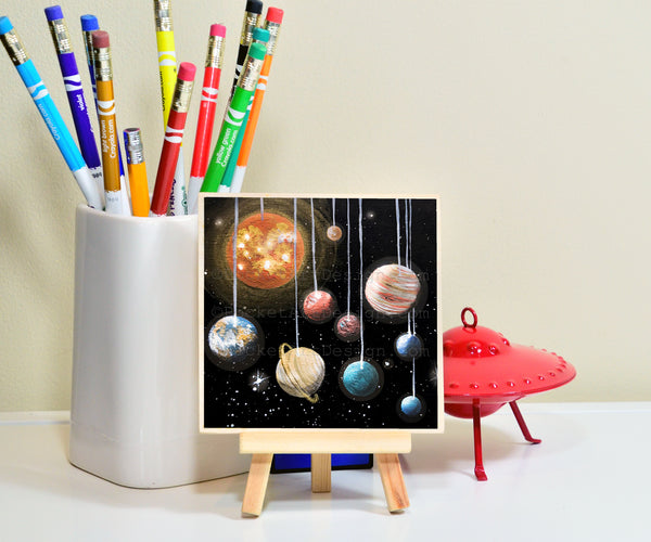 Planet space - night - silhouette - original miniature art print on 4 x 4 wood