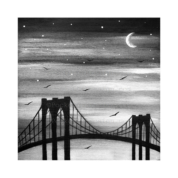 Skylines story - black and white - silhouette - original miniature art print set of 4 on 4 x 4 wood