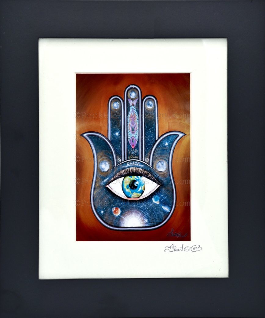 Peace Hamsa - Symbol of protraction  Original art metallic print - 8x10 or 11x14 - with wood frame