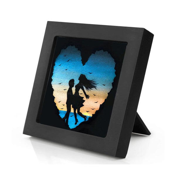 Romantic night - silhouette - original miniature art print on 4 x 4 wood-Print-Mini Frame (+$5.00)-PocketArtDesigns-Original Art-wall rt