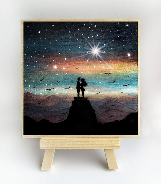 Romantic night - silhouette - original miniature art print on 4 x 4 wood-Print-Easel Wood-PocketArtDesigns-Original Art-wall rt
