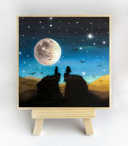 Romantic night - full moon - silhouette - original miniature art print on 4 x 4 wood-Print-Easel Wood-PocketArtDesigns-Original Art-wall rt