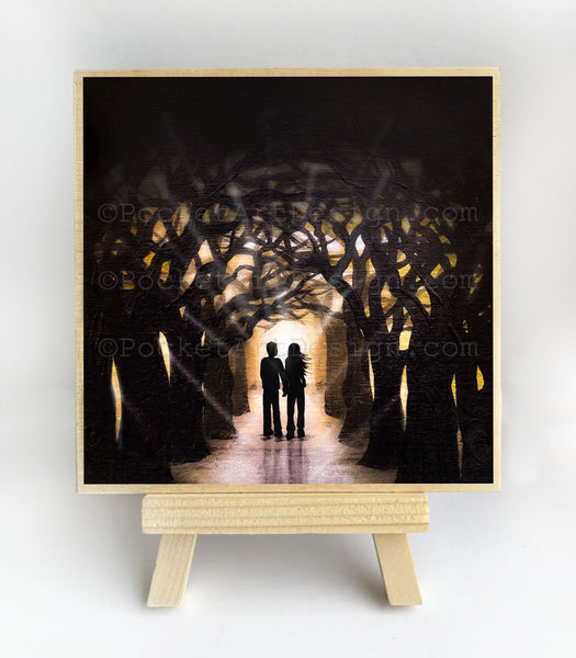 Romantic night - forest - silhouette - original miniature art print on 4 x 4 wood-Print-Easel Wood-PocketArtDesigns-Original Art-wall rt