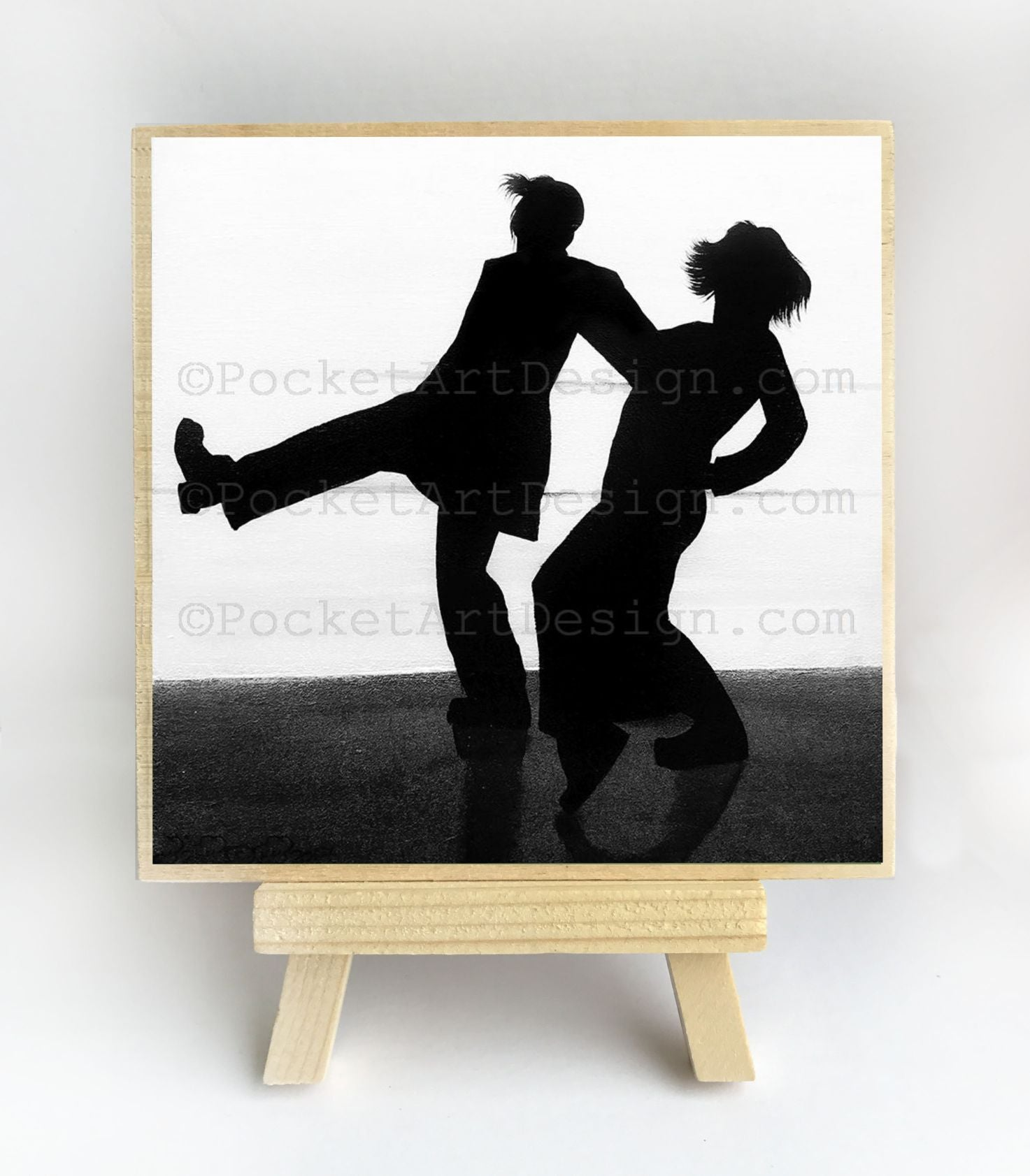 Couple dancing - romantic night - silhouette - original miniature art print on 4 x 4 wood-Print-Easel Wood-PocketArtDesigns-Original Art-wall rt