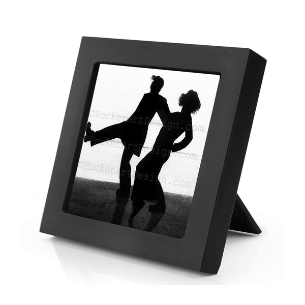 Couple dancing - romantic night - silhouette - original miniature art print on 4 x 4 wood-Print-Mini Frame (+$5.00)-PocketArtDesigns-Original Art-wall rt