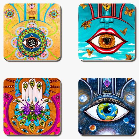Set of 4 variety inspirational coasters-Coaster-PocketArtDesign