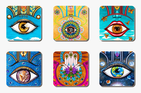 Set of 6 variety inspirational coasters-Coaster-PocketArtDesign