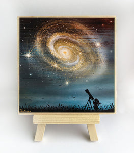 Girl watching the milky way - space - silhouette - original miniature art print on 4 x 4 wood-Print-Easel Wood-PocketArtDesigns-Original Art-wall rt