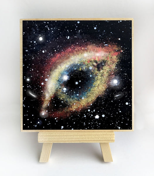 Galaxy constellation - silhouette - original miniature art print on 4 x 4 wood-Print-Easel Wood-PocketArtDesigns-Original Art-wall rt