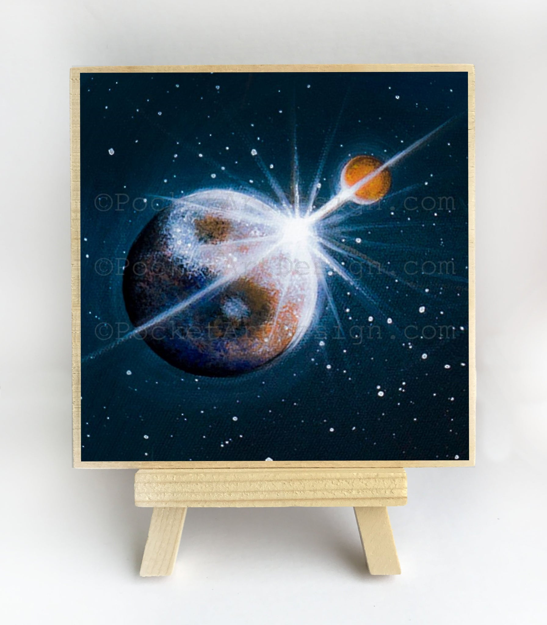 Space art - night - silhouette - original miniature art print on 4 x 4 wood-Print-Easel Wood-PocketArtDesigns-Original Art-wall rt