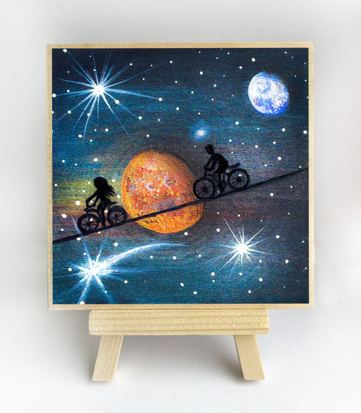 Riding in space - night - silhouette - original miniature art print on 4 x 4 wood-Print-Easel Wood-PocketArtDesigns-Original Art-wall rt