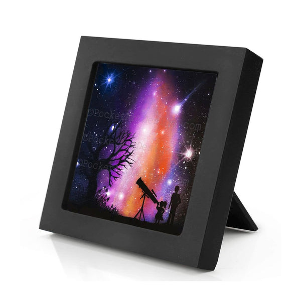 Kids watching the galaxy - silhouette - original miniature art print on 4 x 4 wood-Print-Mini Frame (+$5.00)-PocketArtDesigns-Original Art-wall rt