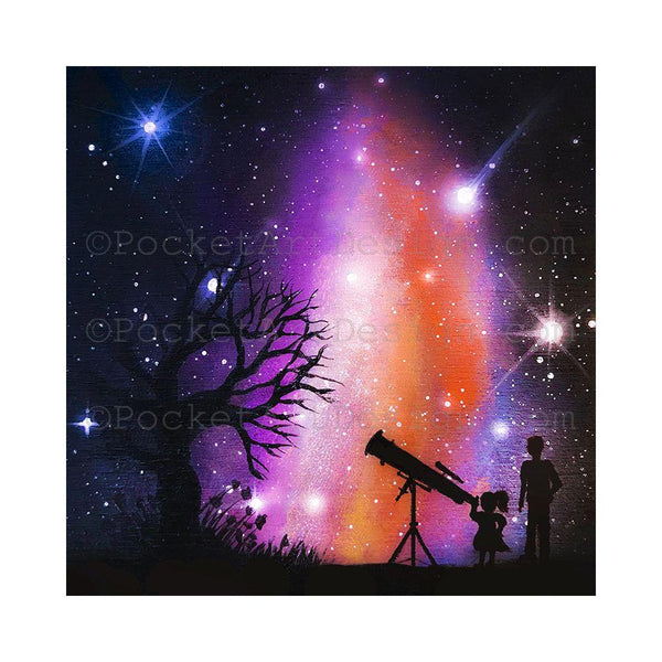 Kids watching the galaxy - silhouette - original miniature art print on 4 x 4 wood-Print-Easel Wood-PocketArtDesigns-Original Art-wall rt