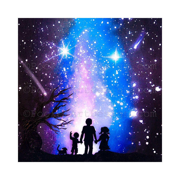 Family watching starry colorful night - silhouette - original miniature art print on 4 x 4 wood-Print-Easel Wood-PocketArtDesigns-Original Art-wall rt