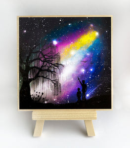 Father and son watching start field in the galaxy - silhouette - original miniature art print on 4 x 4 wood-Print-Easel Wood-PocketArtDesigns-Original Art-wall rt