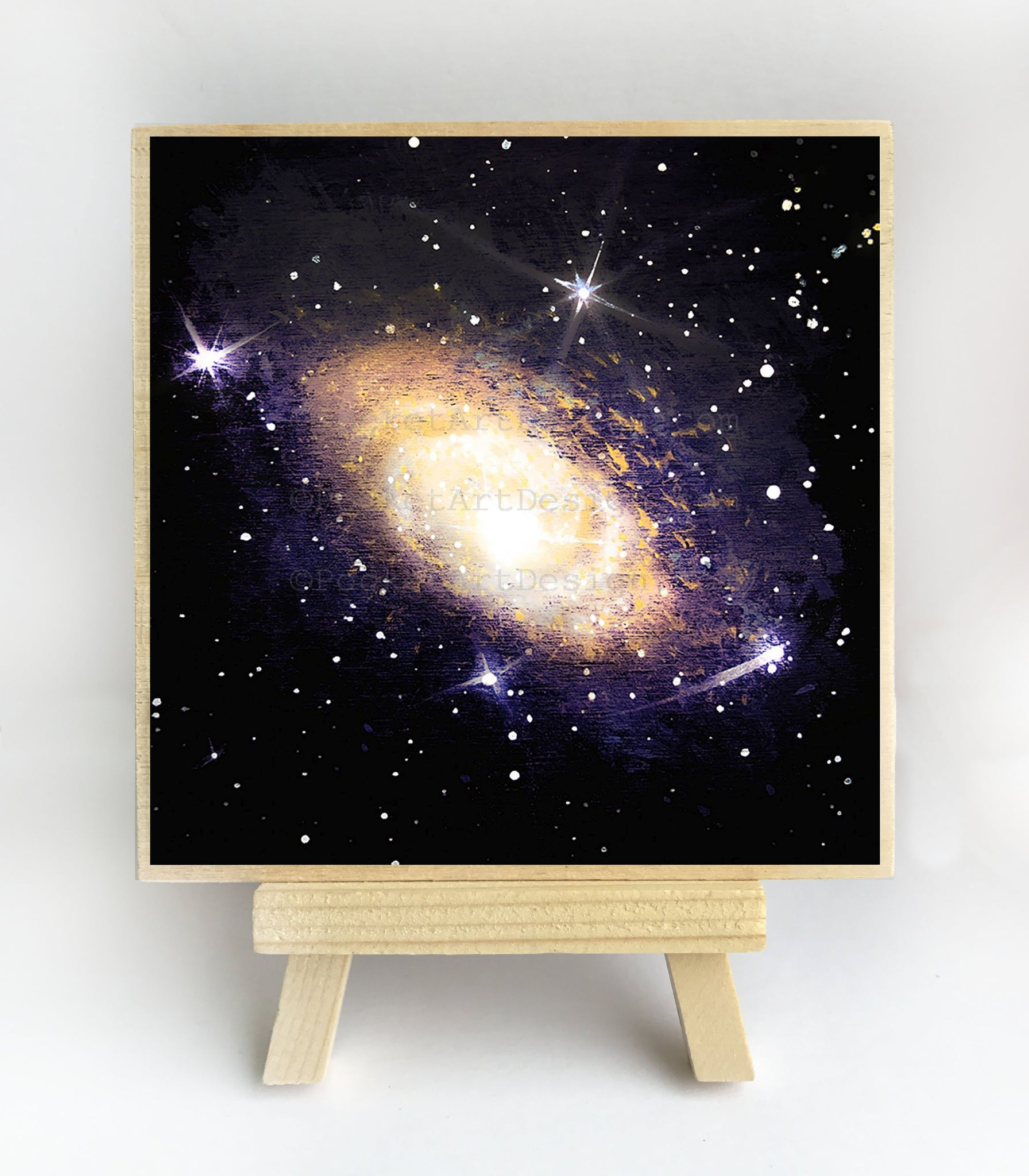 Andromeda galaxy - silhouette - original miniature art print on 4 x 4 wood-Print-Easel Wood-PocketArtDesigns-Original Art-wall rt