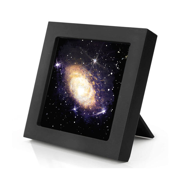 Andromeda galaxy - silhouette - original miniature art print on 4 x 4 wood-Print-Mini Frame (+$5.00)-PocketArtDesigns-Original Art-wall rt