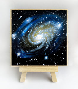 The milky way galaxy - silhouette - original miniature art print on 4 x 4 wood-Print-Easel Wood-PocketArtDesigns-Original Art-wall rt