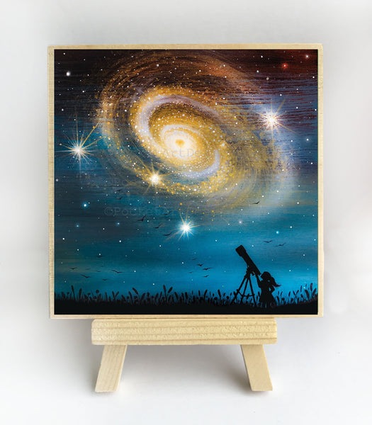 Girl watching the milky way - silhouette - original miniature art print on 4 x 4 wood-Print-Easel Wood-PocketArtDesigns-Original Art-wall rt