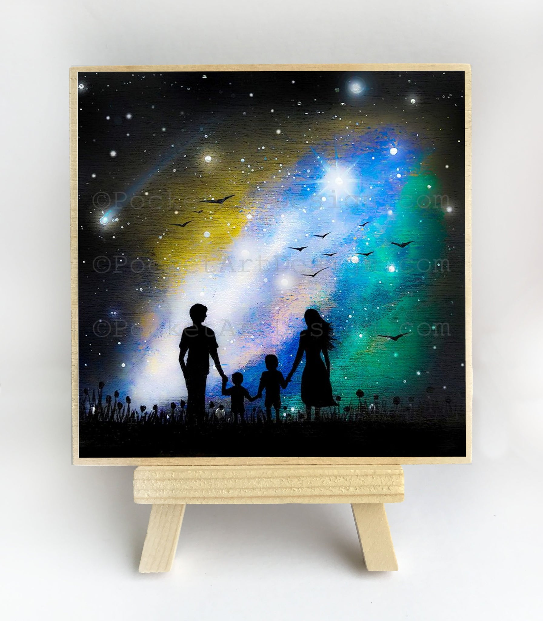 Family watching the galaxy - night - silhouette - original miniature art print on 4 x 4 wood-Print-Easel Wood-PocketArtDesigns-Original Art-wall rt
