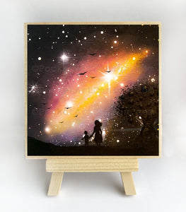 Mother and a child watching the colorful galaxy - silhouette - original miniature art print on 4 x 4 wood-Print-Easel Wood-PocketArtDesigns-Original Art-wall rt