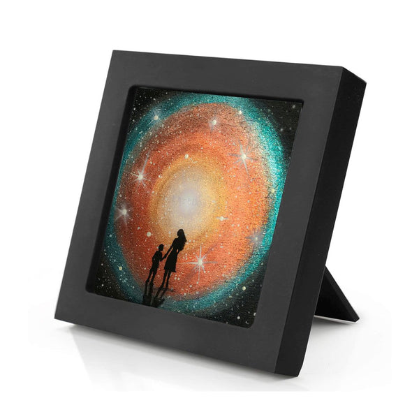 Mother and child watching the galaxy - night - silhouette - original miniature art print on 4 x 4 wood-Print-Mini Frame (+$5.00)-PocketArtDesigns-Original Art-wall rt