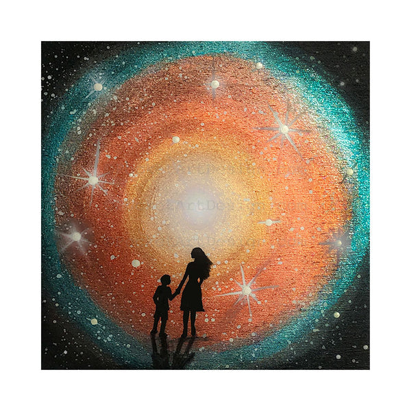 Mother and child watching the galaxy - night - silhouette - original miniature art print on 4 x 4 wood-Print-Easel Wood-PocketArtDesigns-Original Art-wall rt