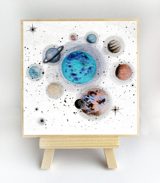 Planet space - original miniature art print on 4 x 4 wood-Print-Easel Wood-PocketArtDesigns-Original Art-wall rt