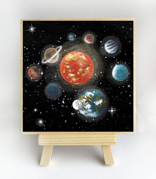 Planet space - night - silhouette - original miniature art print on 4 x 4 wood-Print-Easel Wood-PocketArtDesigns-Original Art-wall rt
