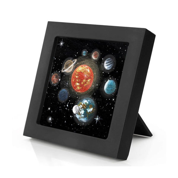 Planet space - night - silhouette - original miniature art print on 4 x 4 wood-Print-Mini Frame (+$5.00)-PocketArtDesigns-Original Art-wall rt