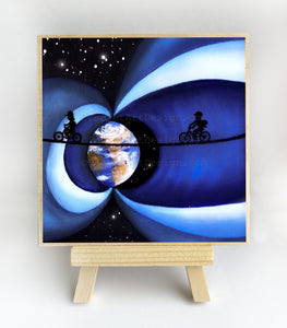 Girl and boy riding in space - night - silhouette - original miniature art print on 4 x 4 wood-Print-Easel Wood-PocketArtDesigns-Original Art-wall rt